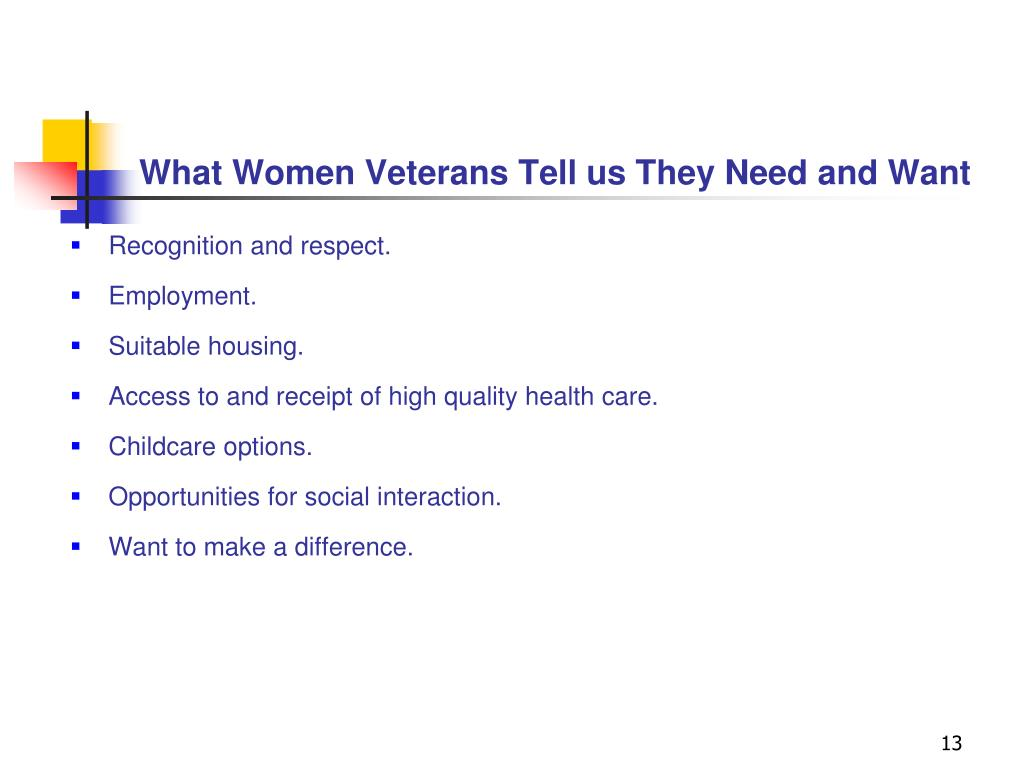 What Women Veterans Tell us They Need and Want