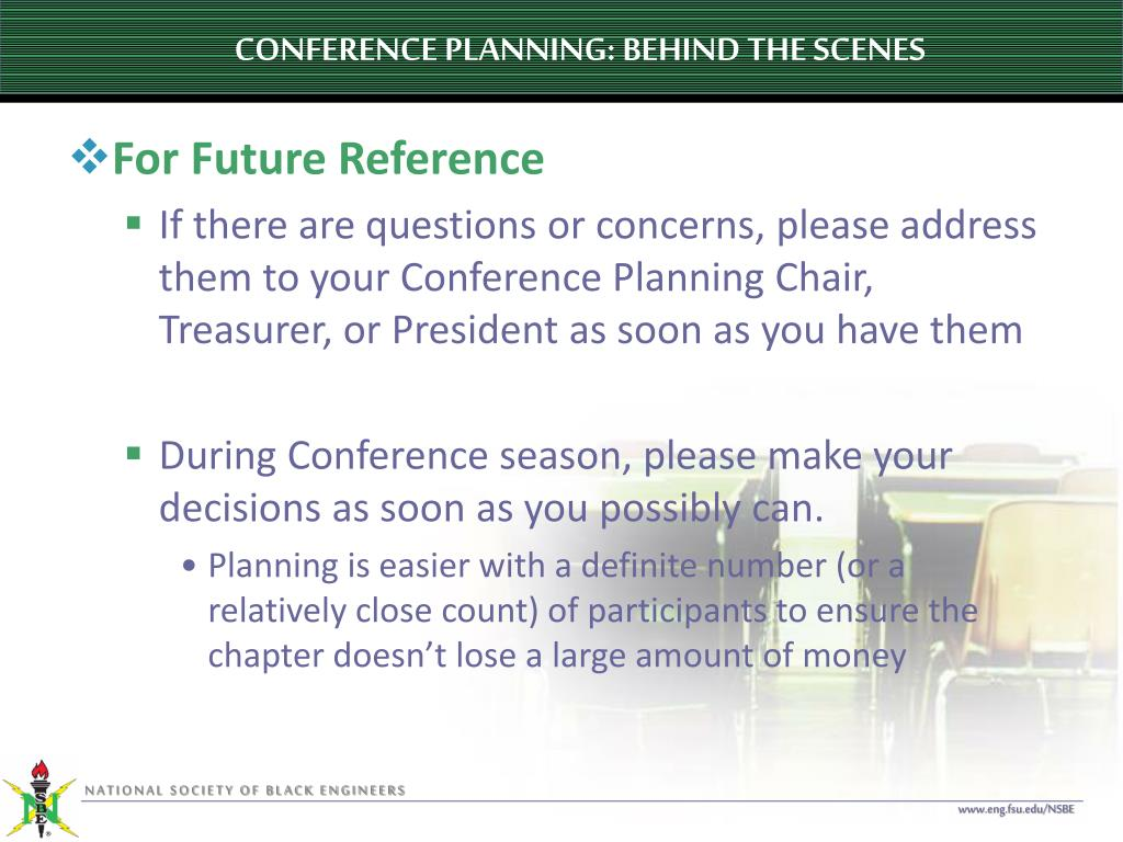 CONFERENCE PLANNING: BEHIND THE SCENES