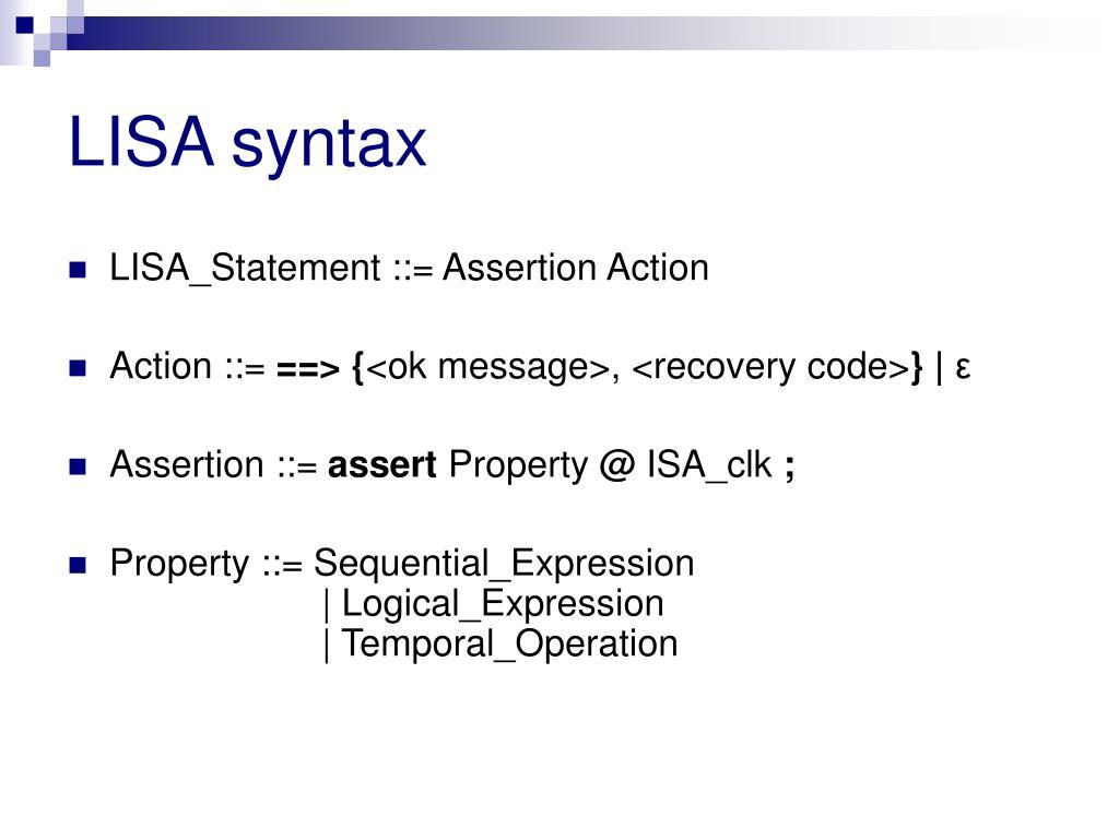 LISA syntax