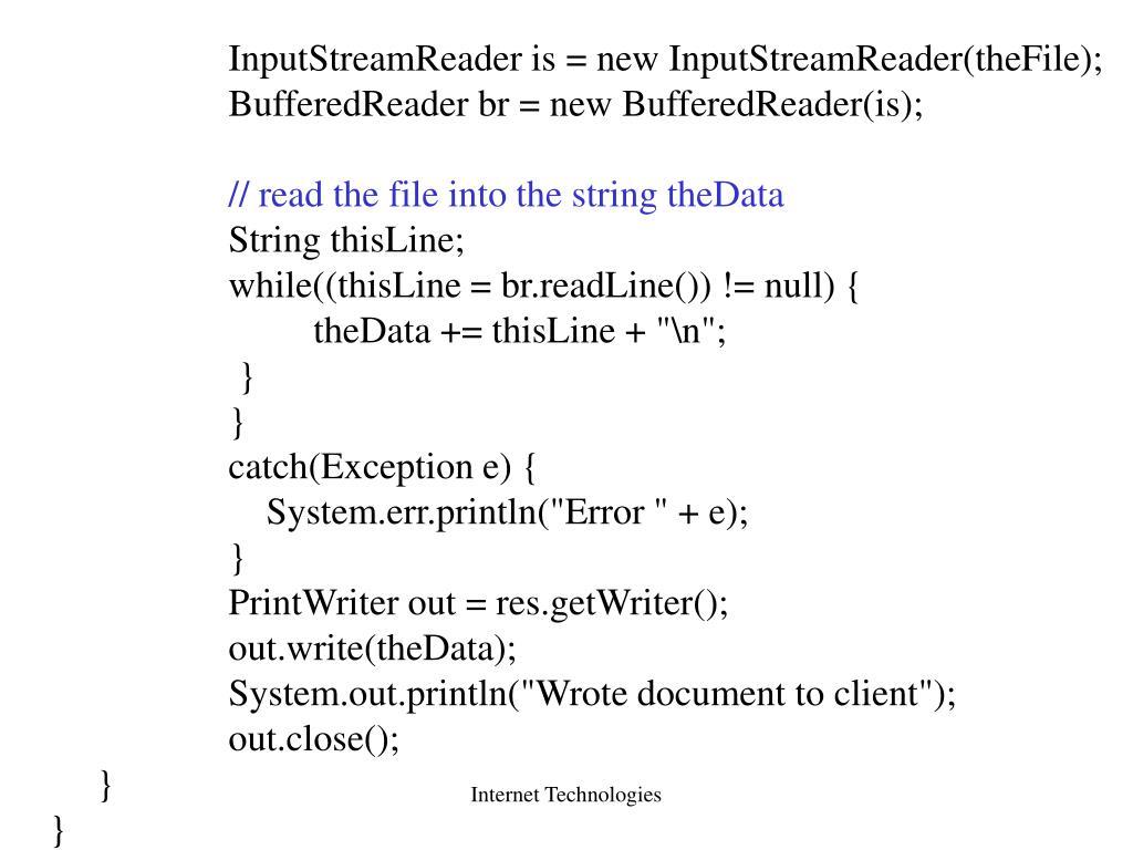 InputStreamReader is = new InputStreamReader(theFile);