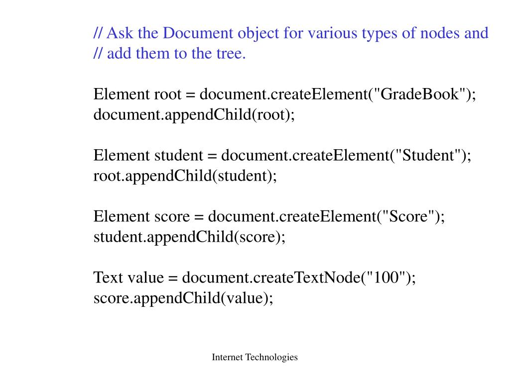 // Ask the Document object for various types of nodes and