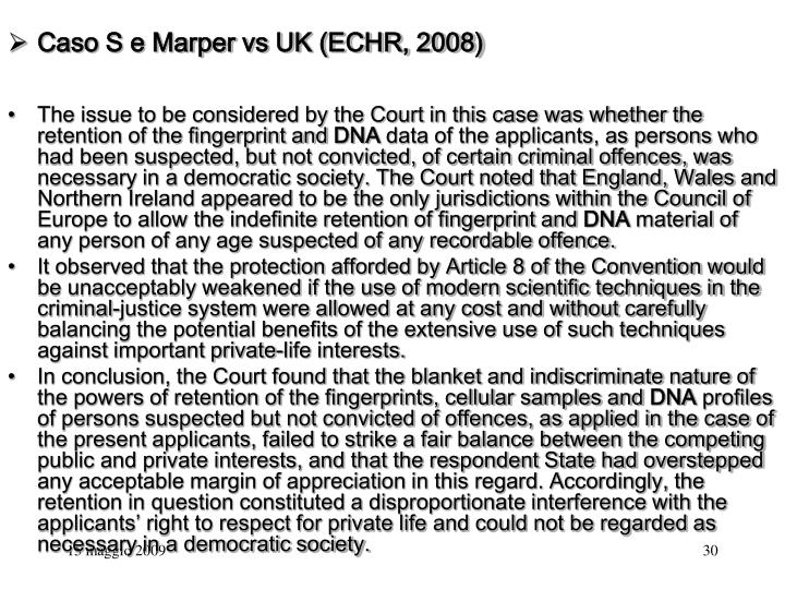 Caso S e Marper vs UK (ECHR, 2008)
