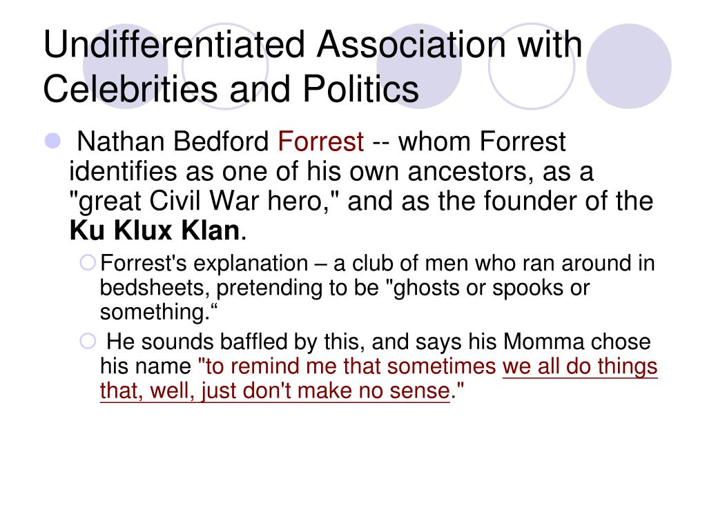 Undifferentiated Association with Celebrities and Politics