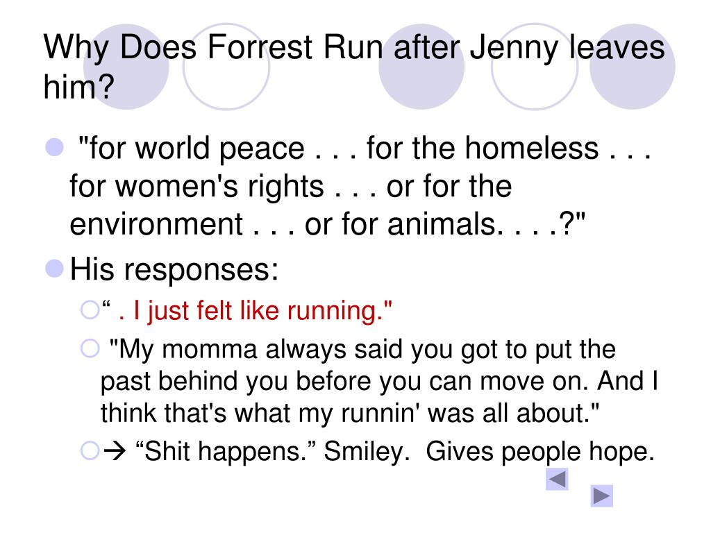 Why Does Forrest Run after Jenny leaves him?