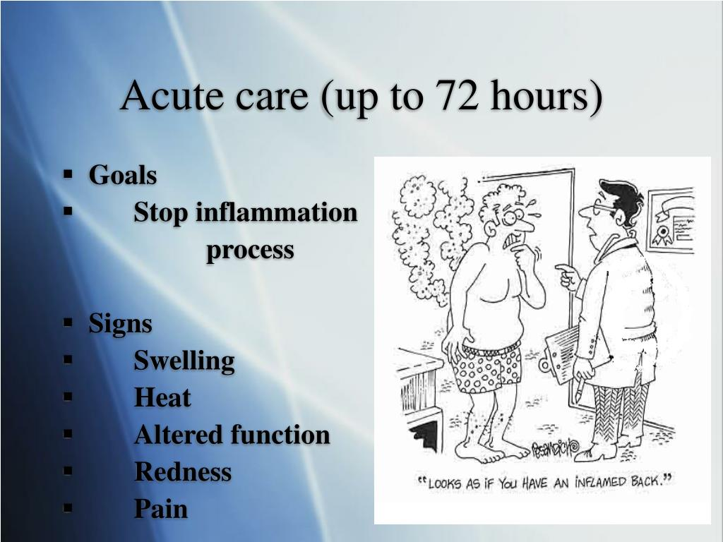 Acute care (up to 72 hours)