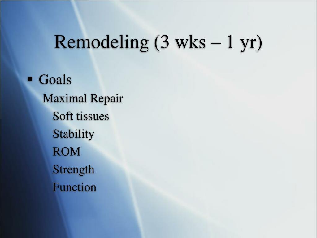 Remodeling (3 wks – 1 yr)