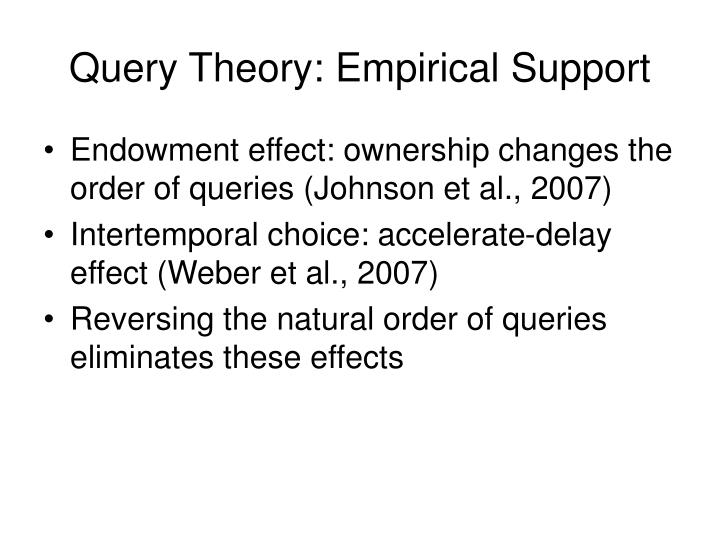 Query Theory: Empirical Support