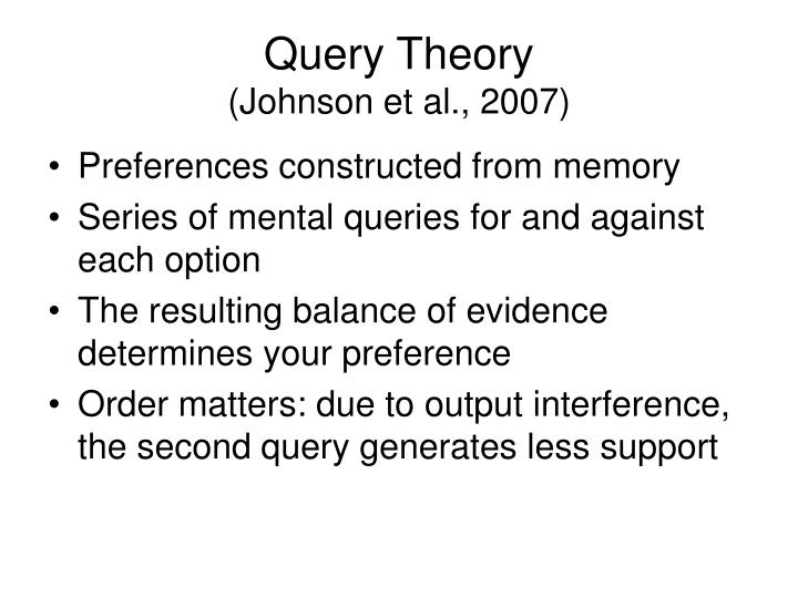 Query Theory