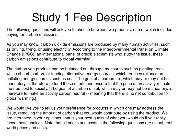 Study 1 Fee Description