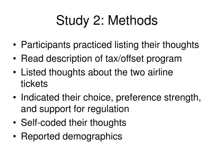Study 2: Methods