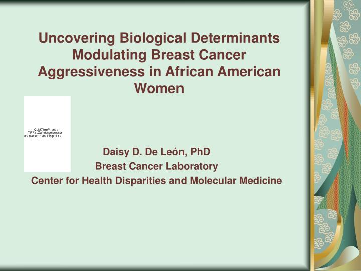 Daisy d de le n phd breast cancer laboratory center for health disparities and molecular medicine