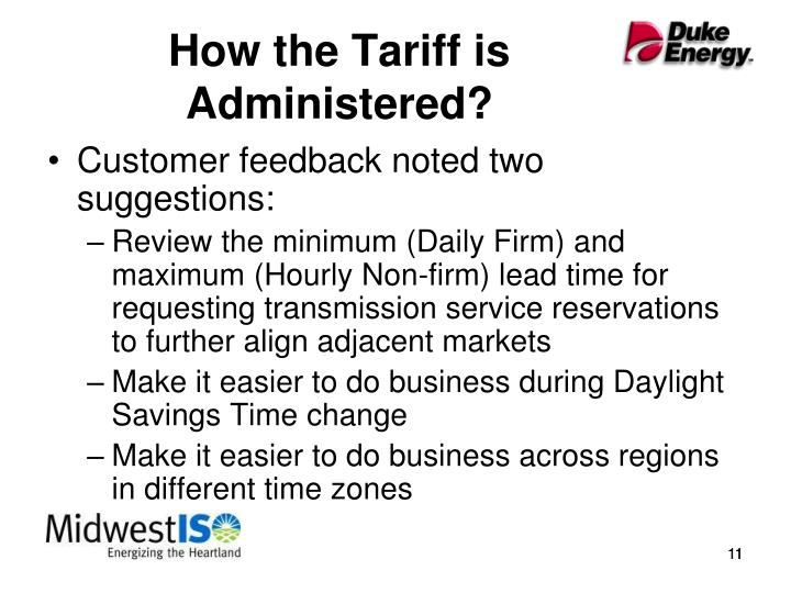 How the Tariff is Administered?