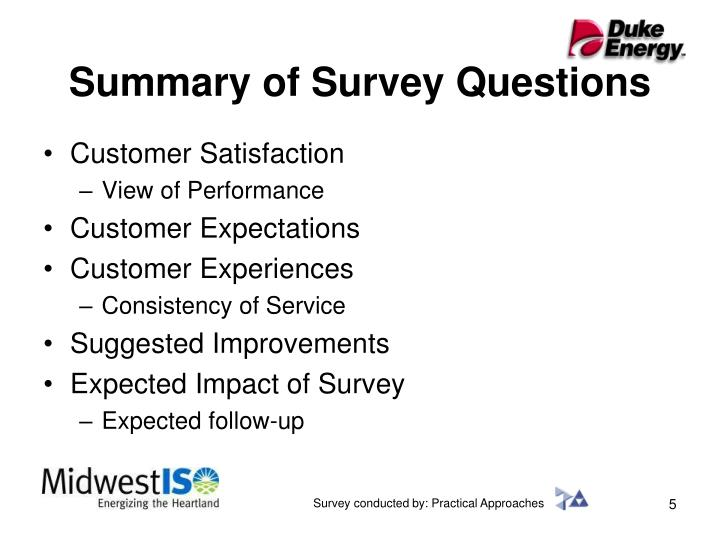 Summary of Survey Questions