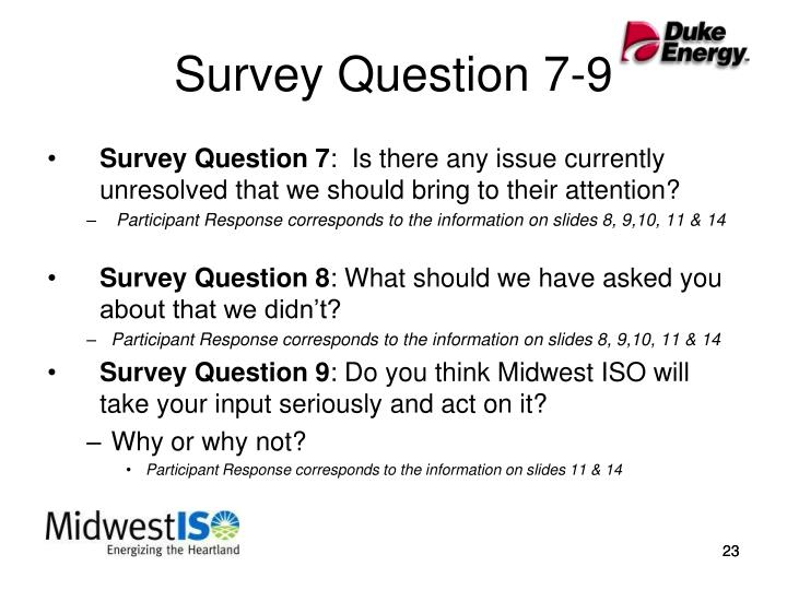 Survey Question 7-9