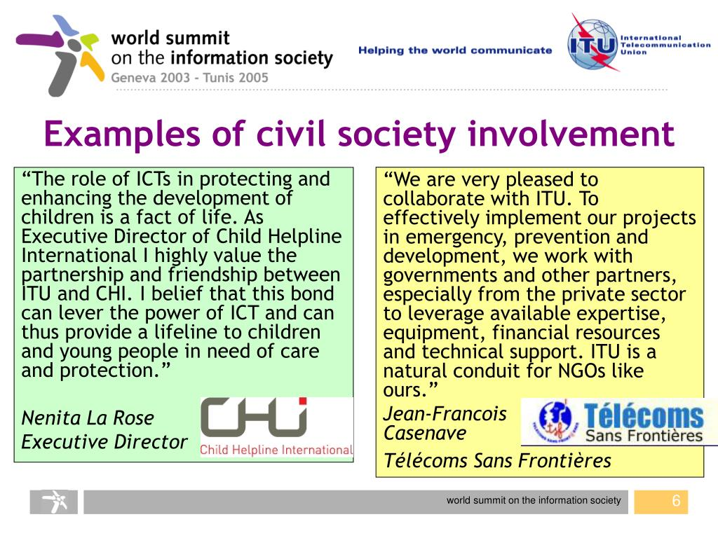 Examples of civil society involvement