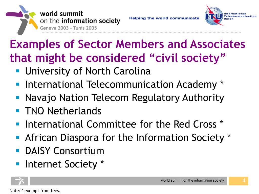 "Examples of Sector Members and Associates that might be considered ""civil society"""