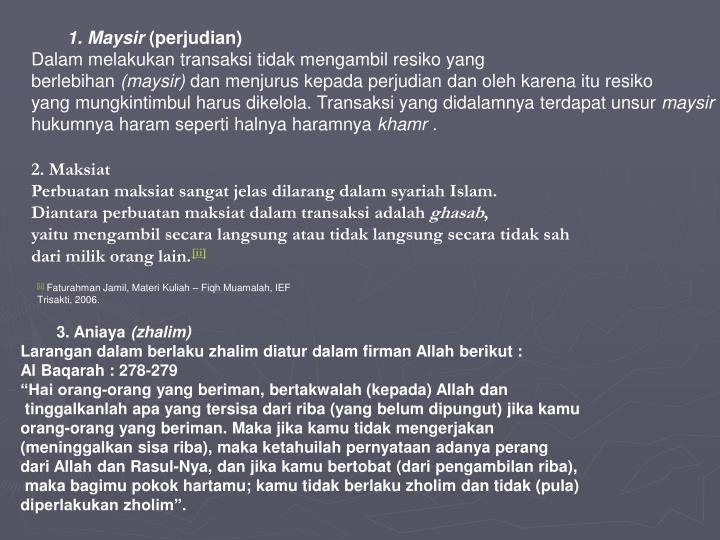 1. Maysir