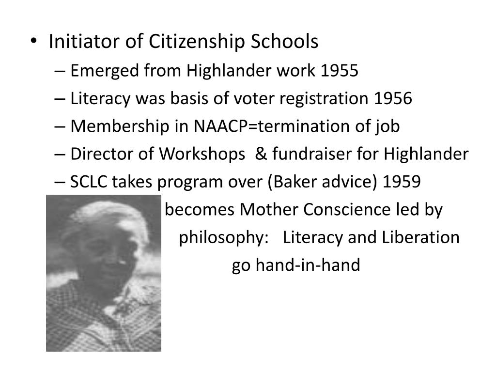 Initiator of Citizenship Schools