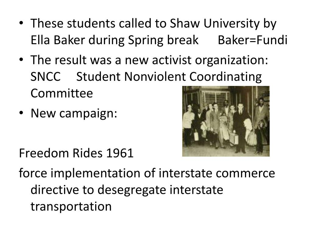 These students called to Shaw University by Ella Baker during Spring break      Baker=Fundi