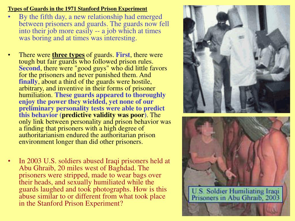 Types of Guards in the 1971 Stanford Prison Experiment