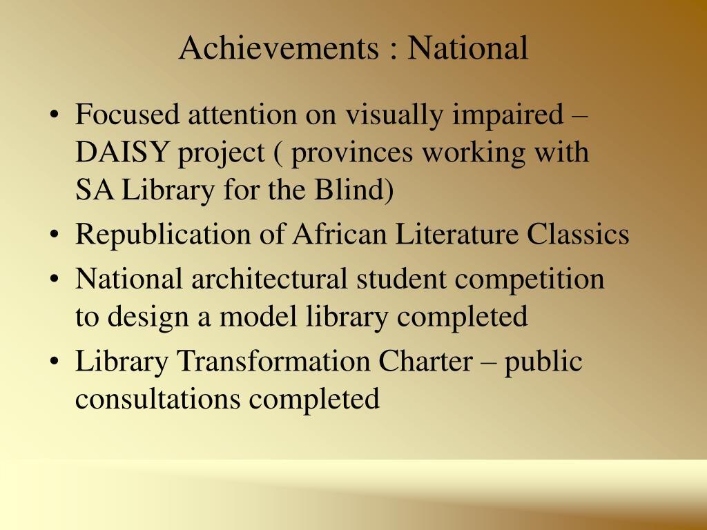 Achievements : National