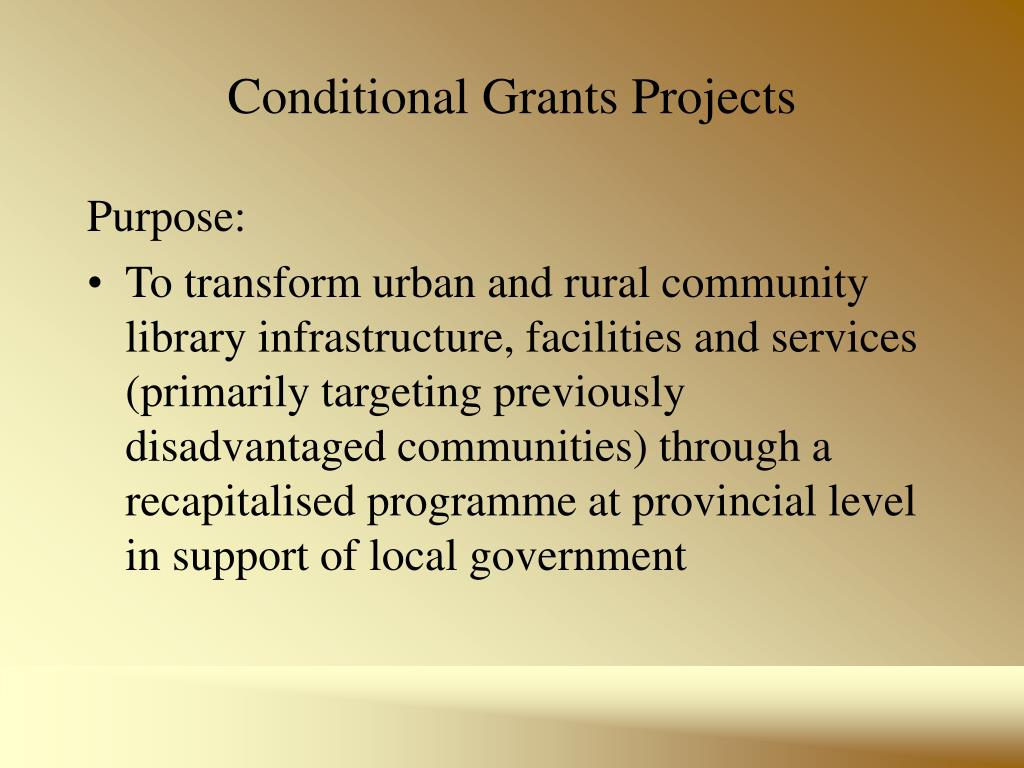 Conditional Grants Projects