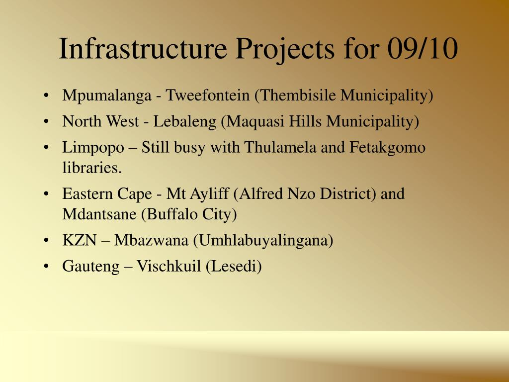 Infrastructure Projects for 09/10