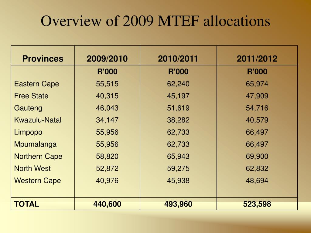 Overview of 2009 MTEF allocations