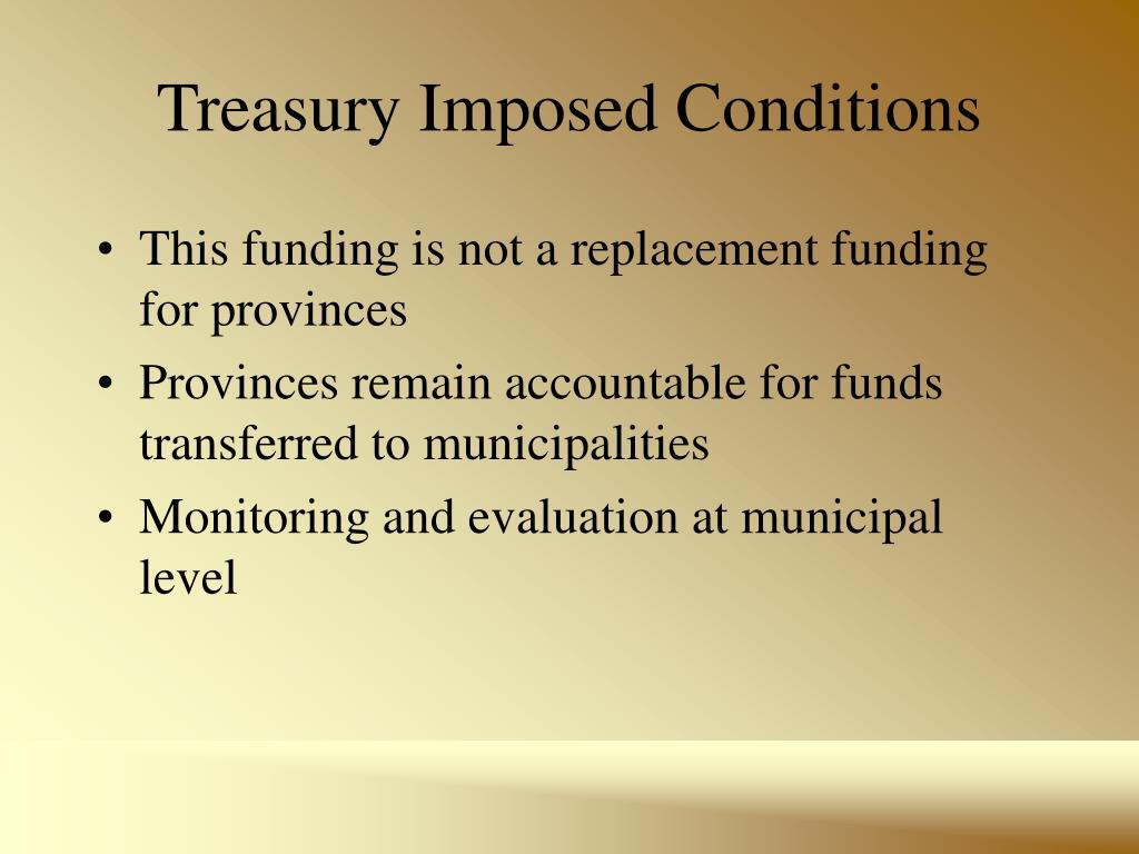 Treasury Imposed Conditions