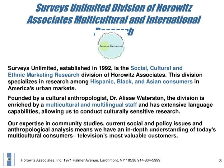 Surveys unlimited division of horowitz associates multicultural and international research