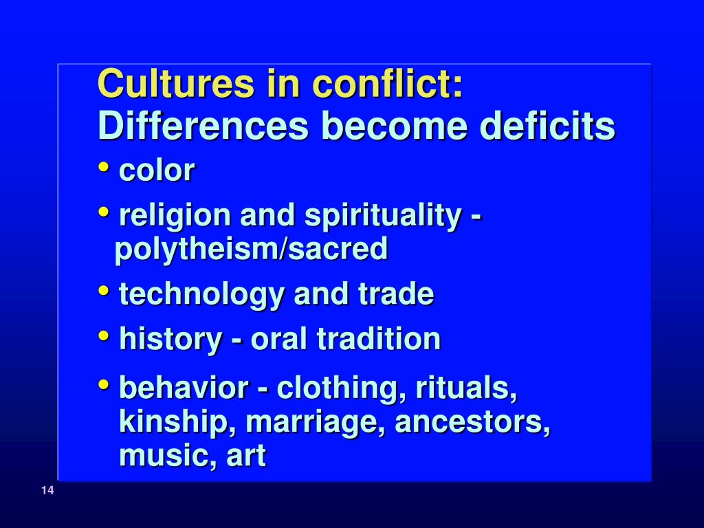 Cultures in conflict: