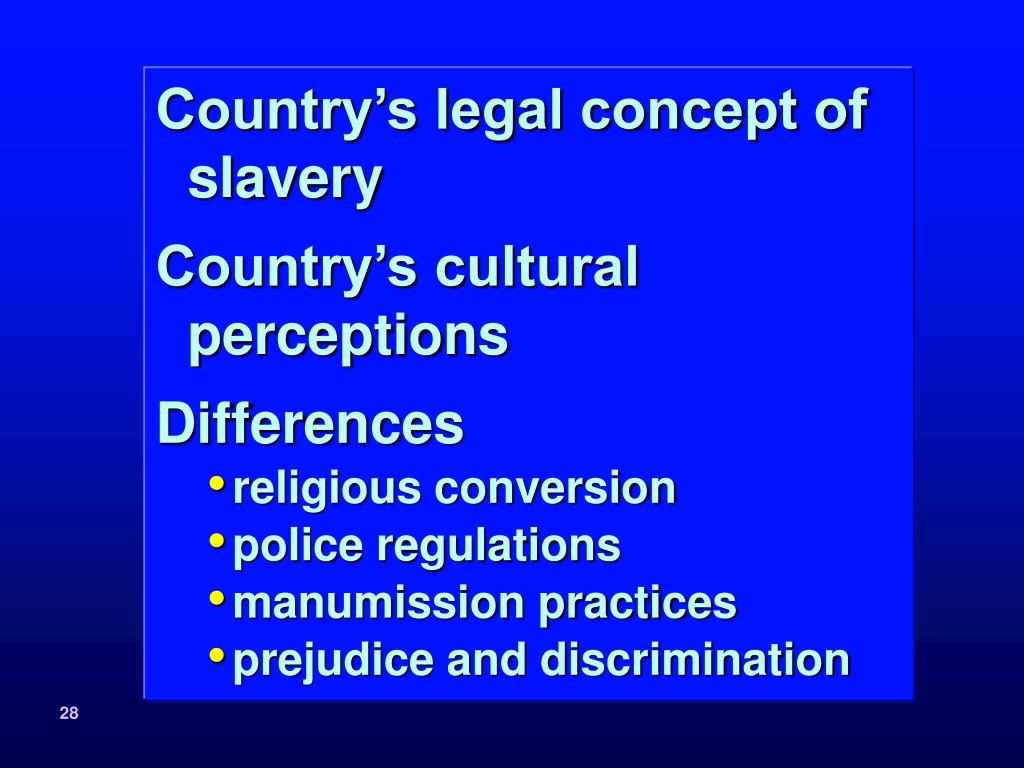 Country's legal concept of slavery