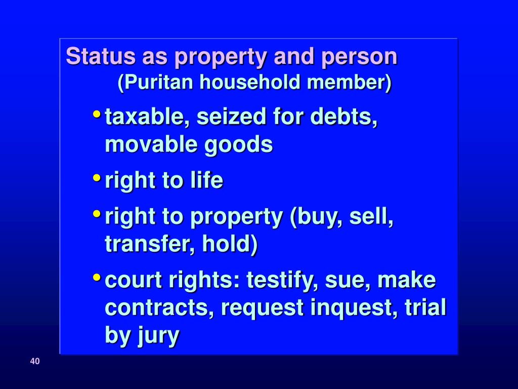 Status as property and person