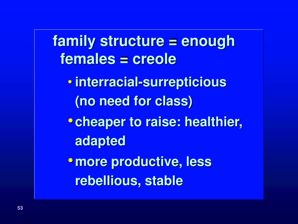 family structure = enough females = creole