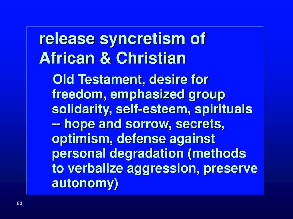release syncretism of African & Christian