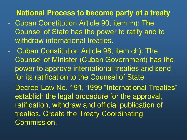 National Process to become party of a treaty