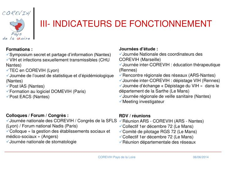 III- INDICATEURS DE FONCTIONNEMENT