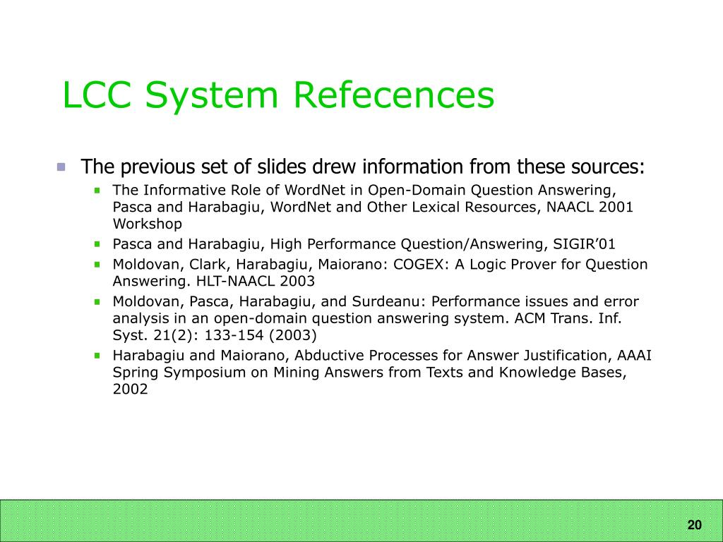 LCC System Refecences