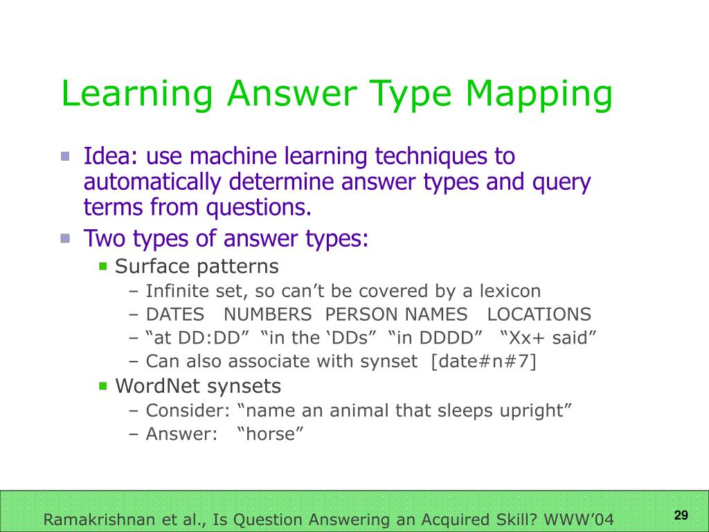 Learning Answer Type Mapping