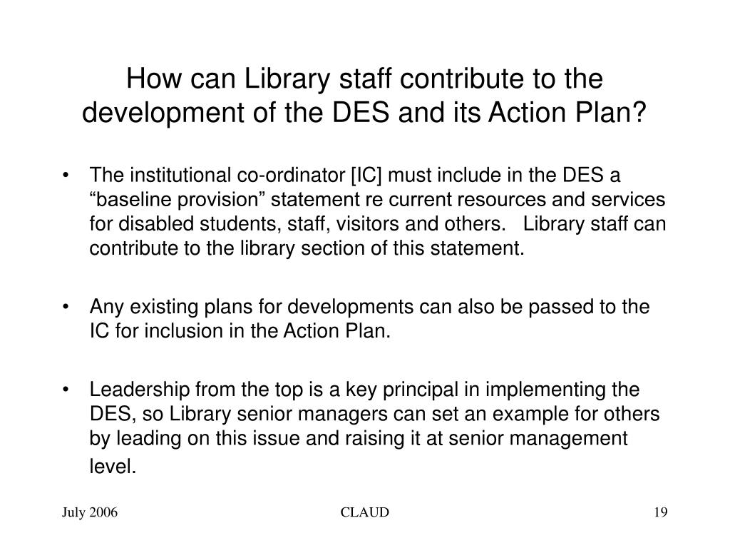 How can Library staff contribute to the development of the DES and its Action Plan?