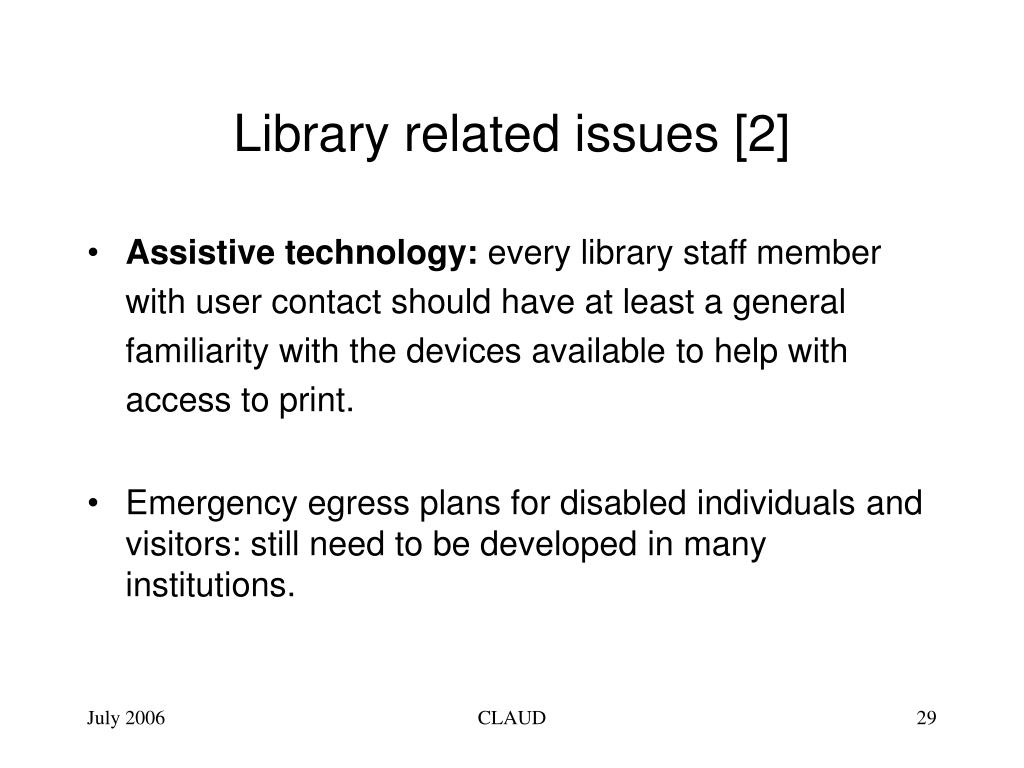 Library related issues [2]