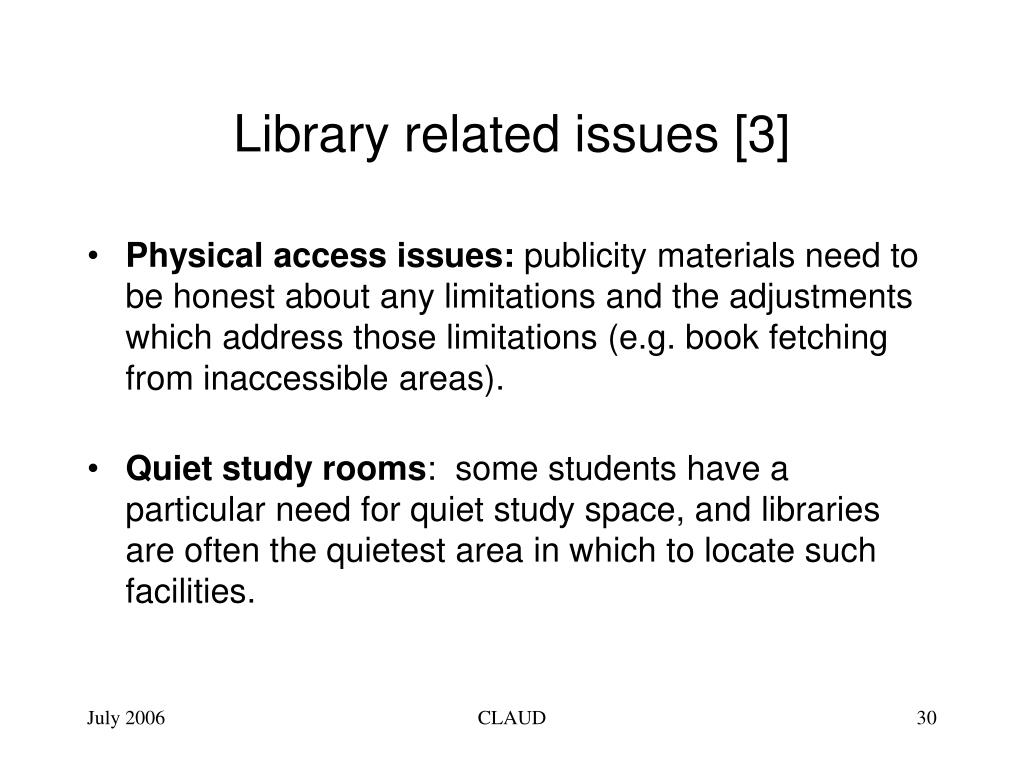 Library related issues [3]