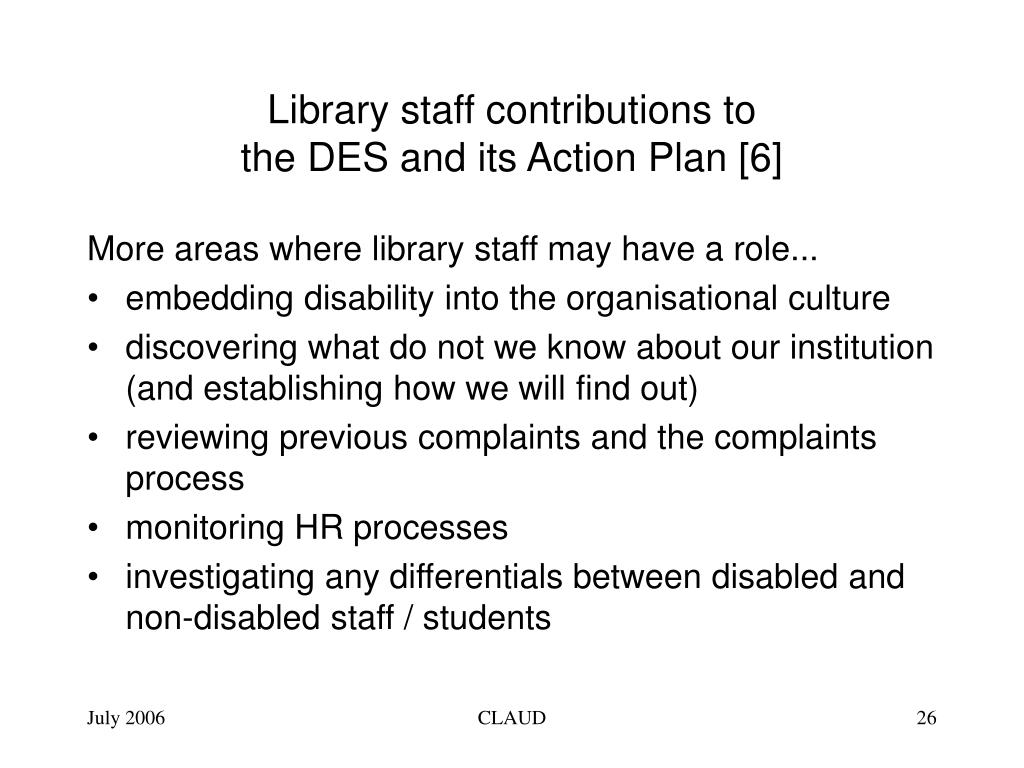 Library staff contributions to