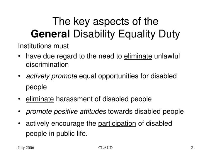 The key aspects of the general disability equality duty
