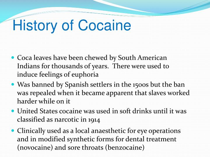 the history and effects of cocaine What are the potential interactions and history based on the interactions and history of cocaine and beta blockers there are some side effects of cocaine.