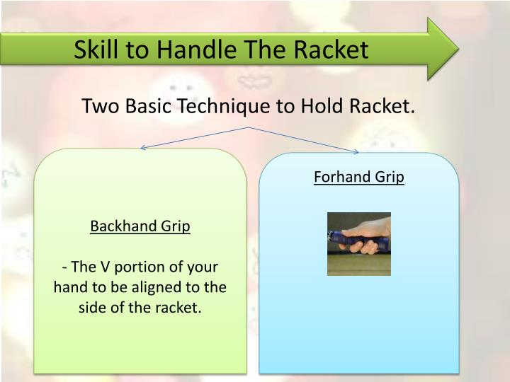 Skill to handle the racket