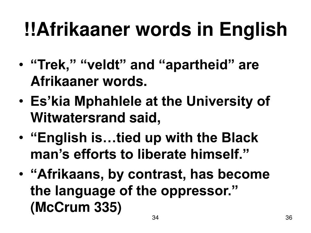 !!Afrikaaner words in English
