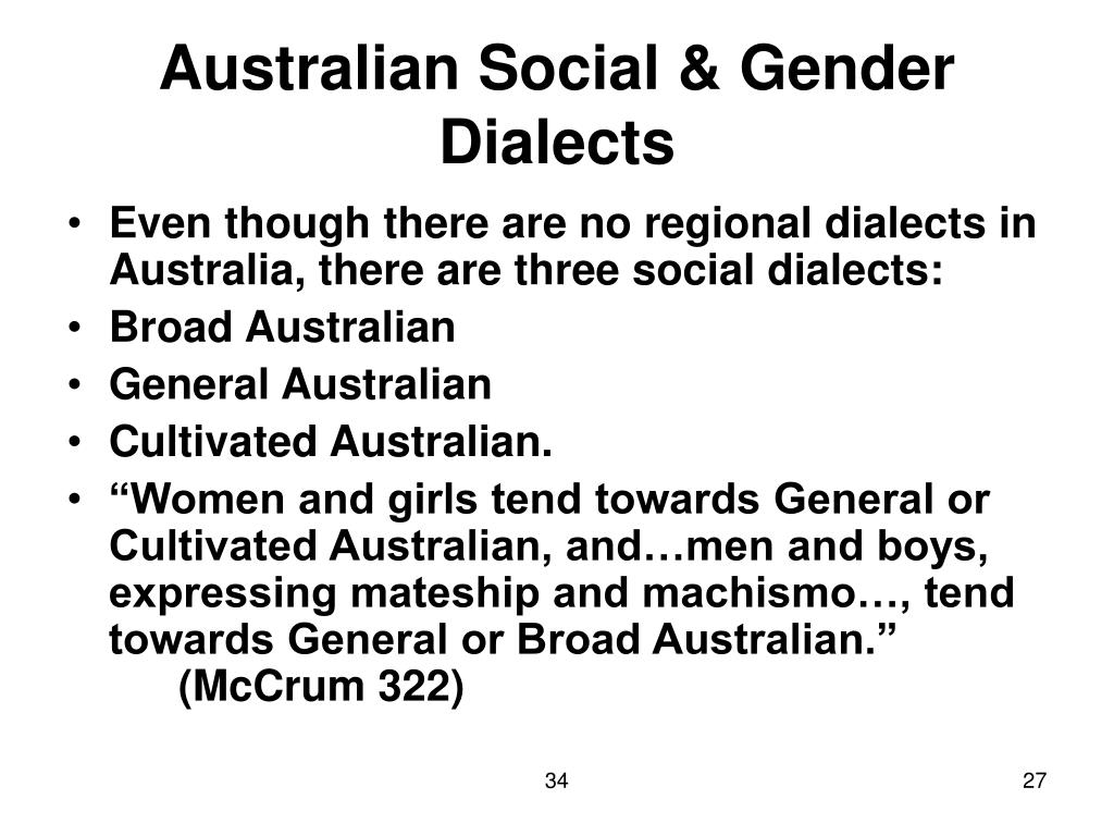 Australian Social & Gender Dialects
