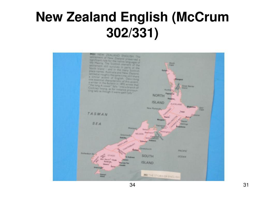 New Zealand English (McCrum 302/331)