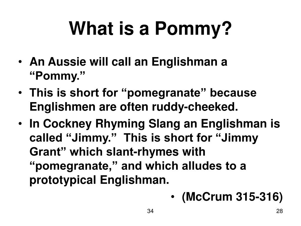 What is a Pommy?